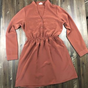 One Clothing Long Sleeve Burnt Orange Dress Size M
